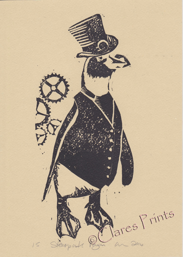 Steampunk Penguin Open Edition Hand-Pulled Linocut Print
