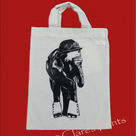Steampunk Elephant Tote Hand Printed Cream Mini Tote Shopping Bag
