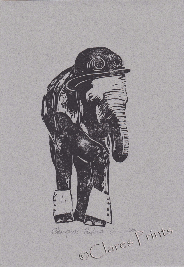 Steampunk Elephant Open Edition Hand-Pulled Linocut Print