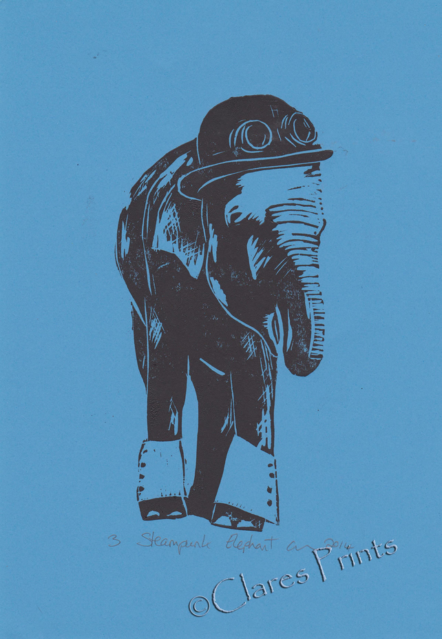 Steampunk Elephant Open Edition Hand-Pulled Linocut Print Blue