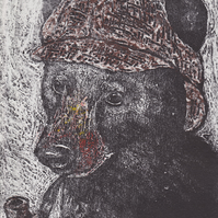 Sherlock Bear Limited Edition Hand-Pulled Collagraph Print Steampunk