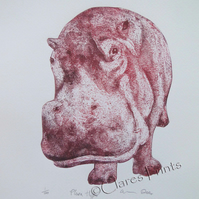 Plum Hippo Limited Edition Collagraph Print