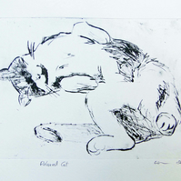 Relaxed Cat Limited Edition Original Hand-Pulled Drypoint Print Animal Art