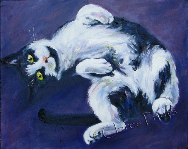 Animal Art Tranquil Cat Original Oil Painting on Canvas OOAK