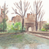 ACEO Prudhoe Castle Original Watercolour and Pencil Painting OOAK
