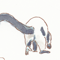 ACEO Animal Art Ruffed Lemur Walk Original Watercolour and Ink Painting OOAK