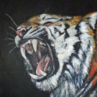 Animal Art Tiger Roar Original Acrylic Painting on Canvas OOAK Cat