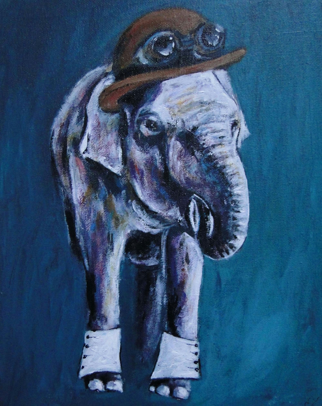 Steampunk Elephant Art Original Acrylic Painting on Canvas OOAK