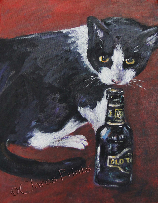 Cat & Beer Art Original Acrylic Painting on Canvas OOAK