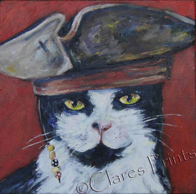 Captain Jack Cat Painting Art Original Oil Painting on Canvas OOAK Animal Pirate