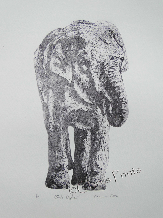 Black Elephant Limited Edition Collagraph Print