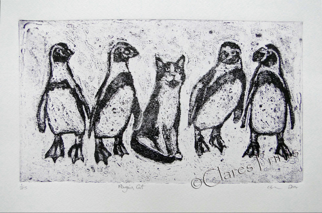 Penguin Cat Limited Edition Original Collagraph Print Art Animals