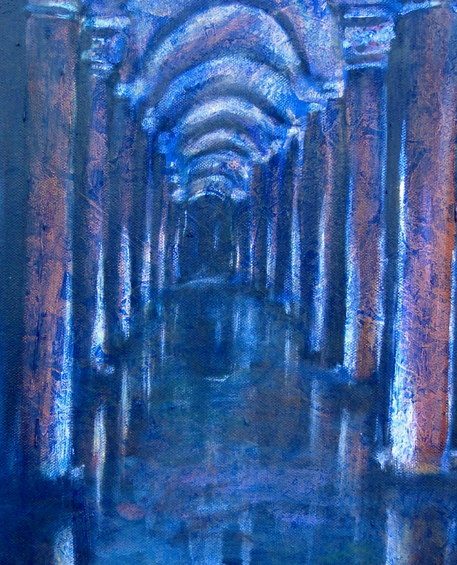 Sunken Palace Art Original Oil Painting on Canvas OOAK