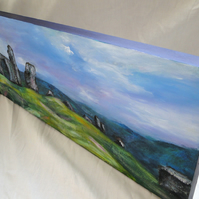 Castell Dinas Bran Art Original Acrylic Painting on Canvas OOAK Wales