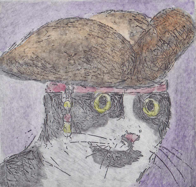 Captain Jack Cat Art Etching Printmaking Pirate