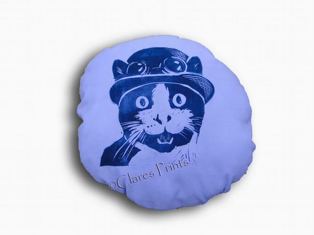 Steampunk Cat Purple Stuffie Cushion Hand Printed Linocut Handmade