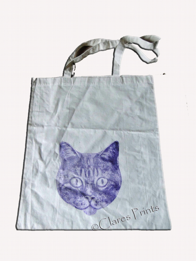 Sale Purple Cat Collagraph Hand Printed Cream Tote Shopping Bag