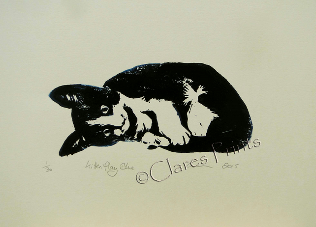 Cat Art Print Kitten Play Bue Limited Edition Hand-Pulled Linocut Art