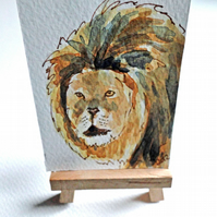 ACEO Animal Art Lion Pose Original Watercolour and Ink Painting OOAK Cat