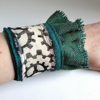 Steampunk Cog Cuff Hand Printed Fabric Wearable Artwork Bracelet