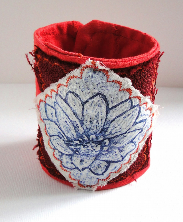 Flower Fabric Cuff Hand Printed Wearable Artwork Bracelet Orange
