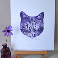 Big Eyed Cat  Limited Edition Collagraph Print Purple
