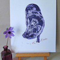 Purple Pig Limited Edition Collagraph Print