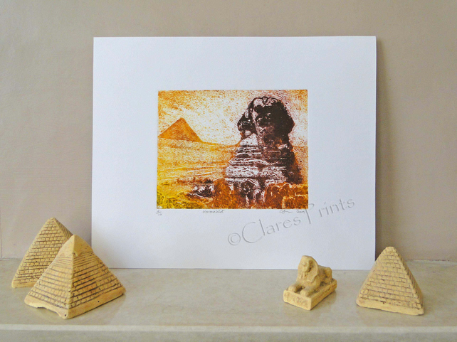 Hormakhet Sphinx Egypt Limited Edition Original Collagraph Print Art