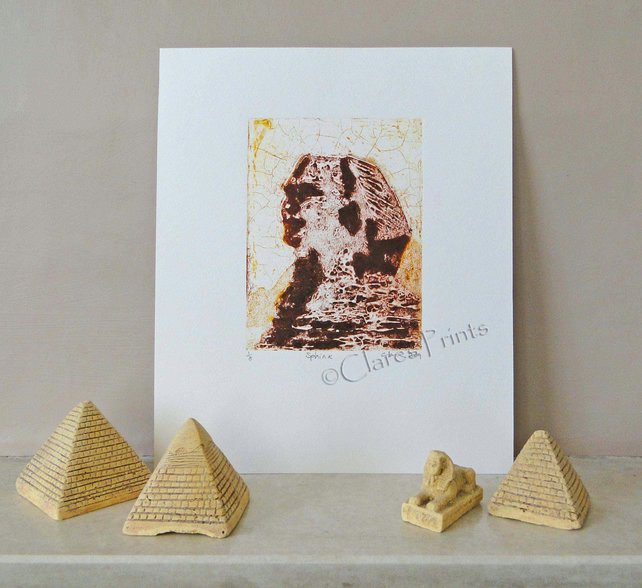 Sphinx Egypt Limited Edition Original Collagraph Print Art
