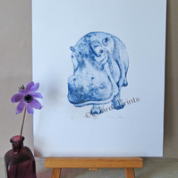 Blue Hippo Animal Limited Edition Collagraph Print Art