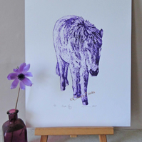 Purple Pony Animal Limited Edition Collagraph Print Art Horse