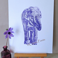 Purple Elephant Limited Edition Animal Collagraph Print
