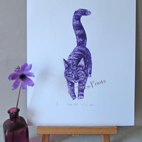 Purple Cat Limited Edition Animal Collagraph Print