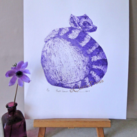 Purple Lemur Art Limited Edition Collagraph Print