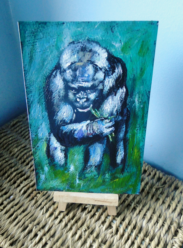 OSWOA Gorilla Munch Art  Original Watercolour & Ink Painting 4x6 OOAK  Sale
