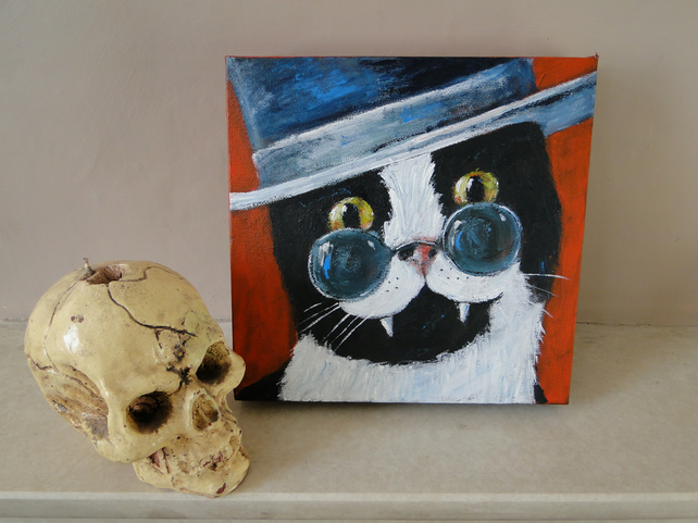 Dracula Cat Art Original Art Acrylic Painting on Canvas OOAK Vampire