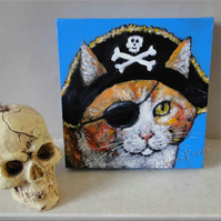 Pirate Ginger Cat Original Art Acrylic Painting on Canvas OOAK Retro Steampunk