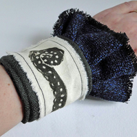 Steampunk Octopus Cuff Hand Printed Fabric Tentacle Wearable Artwork
