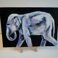 Elephant Walk Original Acrylic Painting on Canvas Board OOAK Animal Art