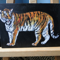 Tiger Stand Original Acrylic Painting on Canvas Board OOAK Animal Art