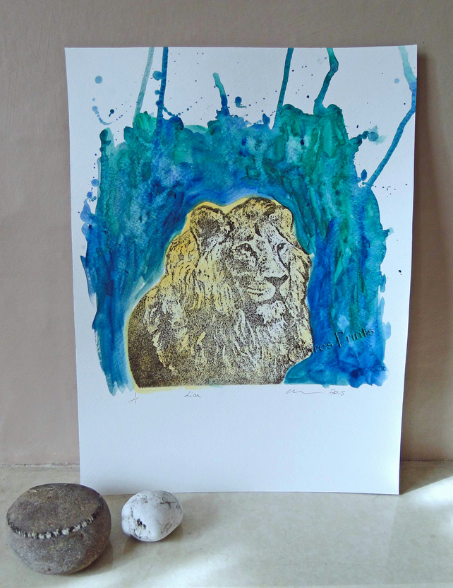 Lion Original Collagraph Print Animal Art