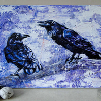 Raven Speak Original Oil Painting on Canvas OOAK Bird Animals