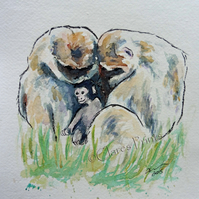 Monkey Love Art Watercolour Original Animal Painting