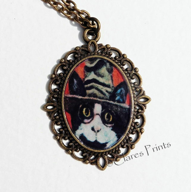 Steampunk Cat Art Necklace Pendant Animal Harry Potter