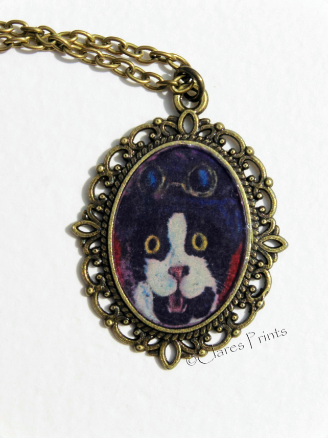 Steampunk Cat Art Necklace Pendant Animal