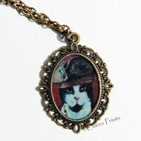 Steampunk Cat Art Necklace Pendant Animal Captain Jack Pirate