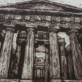 Temple of Concordia Limited Edition Original Collagraph Print Art