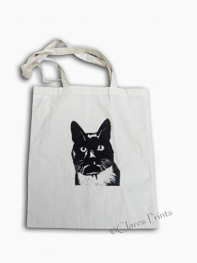 Black Cat Tote Bag Animal Linocut Hand Printed Shopping Bag