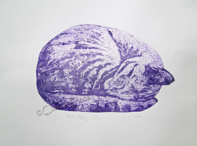 Purple Sleeping Cat Limited Edition Collagraph Print Art