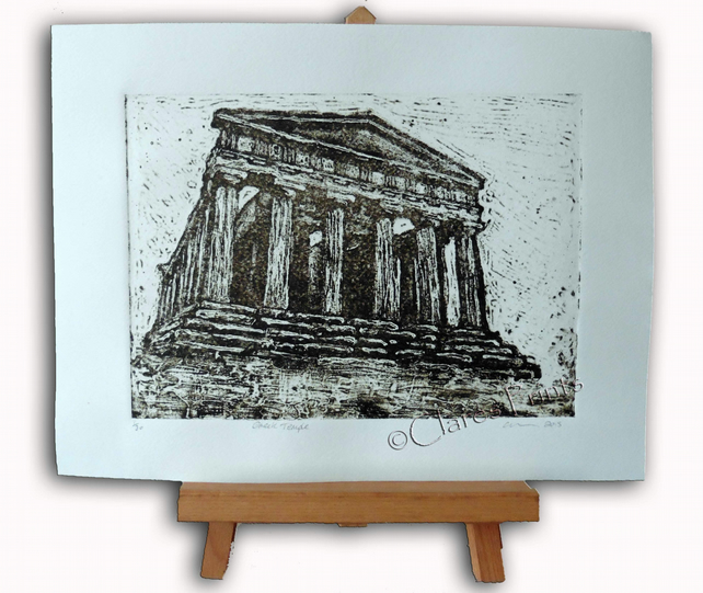 Greek Temple Limited Edition Original Collagraph Print Art